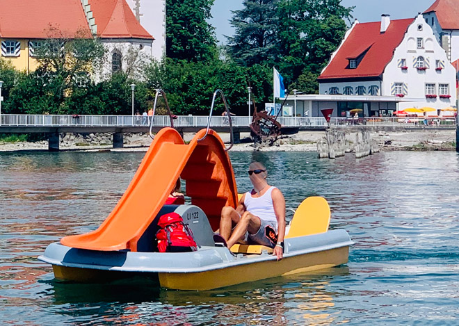 Tretboot_Classic_orange_grau_Wasserburg_Bodensee